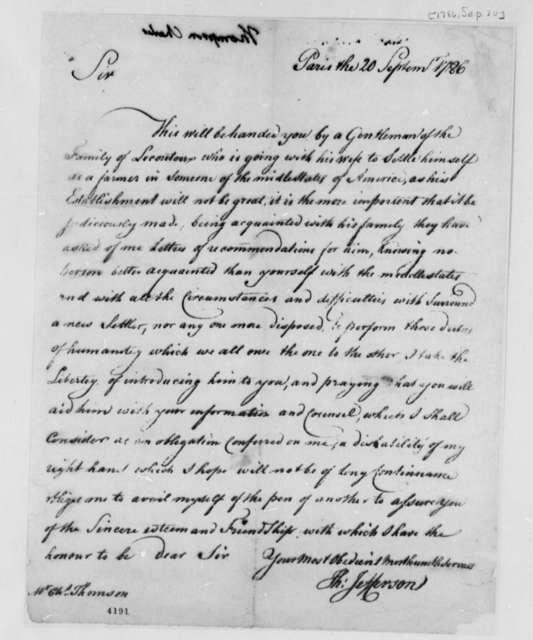 Thomas Jefferson to Charles Thomson, September 20, 1786