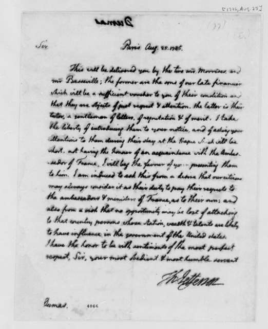 Thomas Jefferson to Charles William Frederic Dumas, August 25, 1786