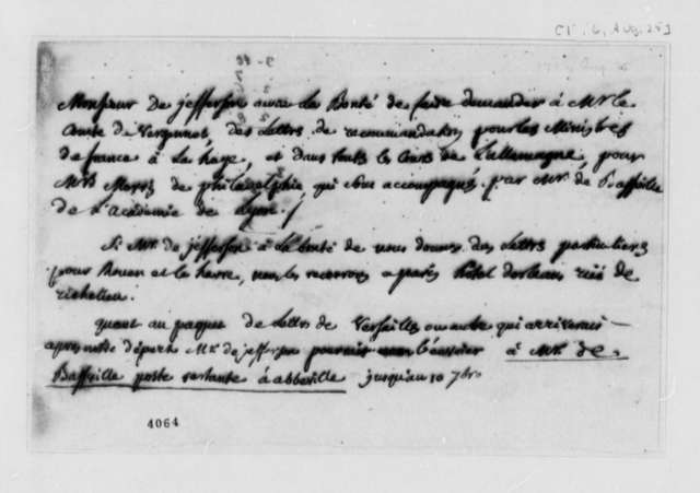 Thomas Jefferson to Charles William Frederic Dumas, August 25, 1786, in French