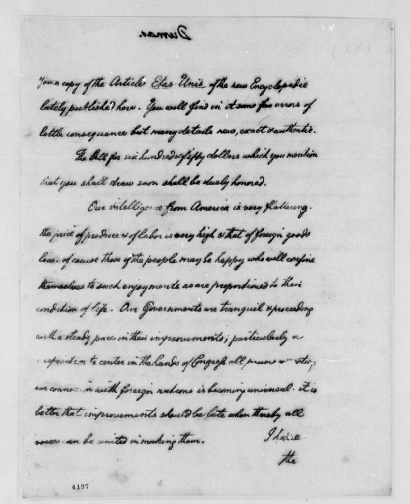 Thomas Jefferson to Charles William Frederic Dumas, September 22, 1786