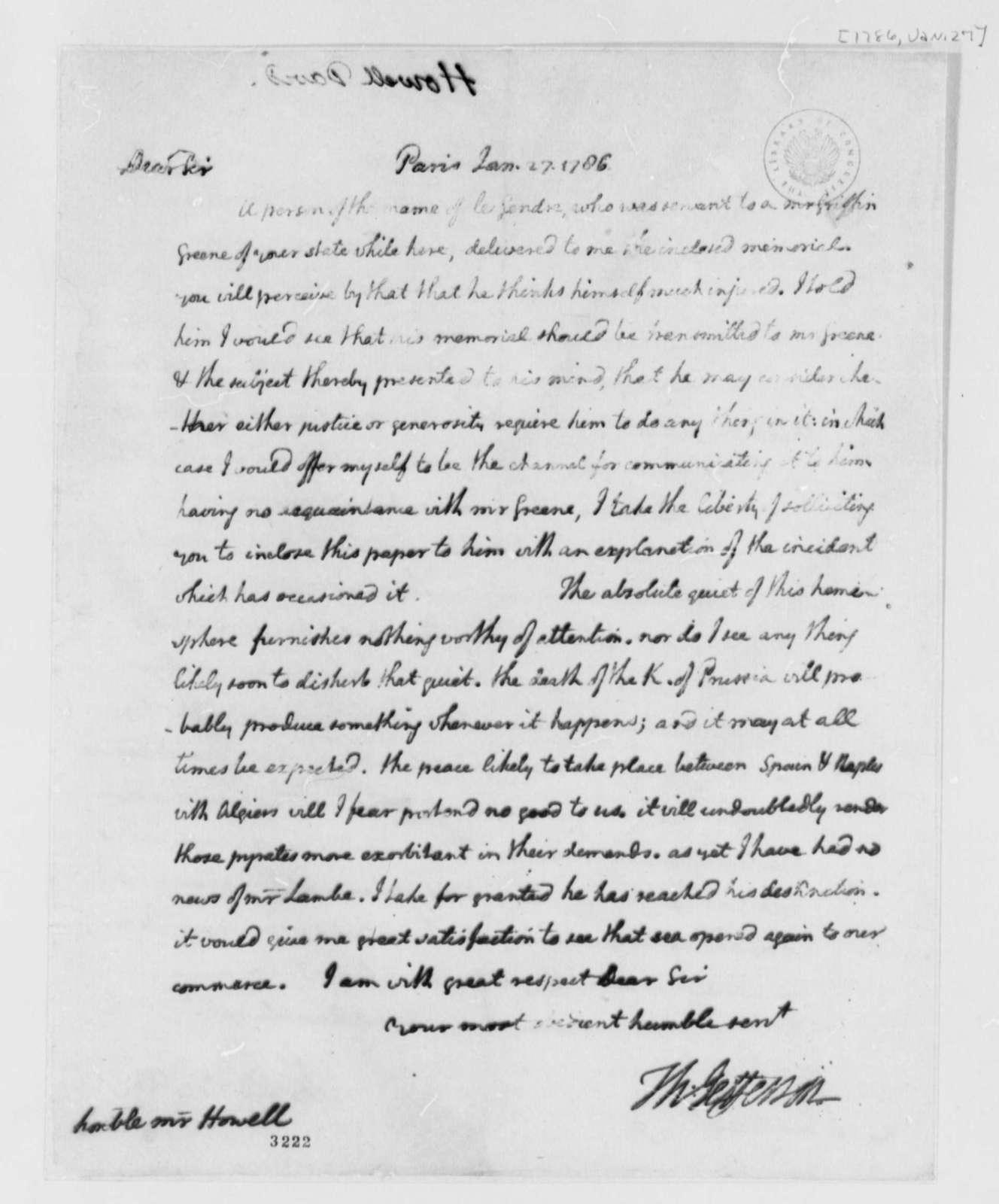 Thomas Jefferson to David Howell, January 27, 1786