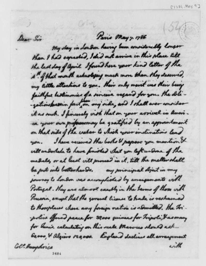 Thomas Jefferson to David Humphreys, May 7, 1786