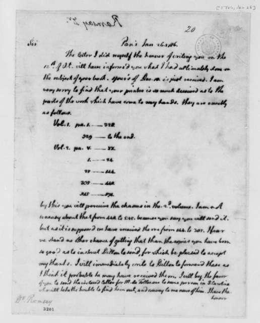 Thomas Jefferson to David Ramsay, January 26, 1786