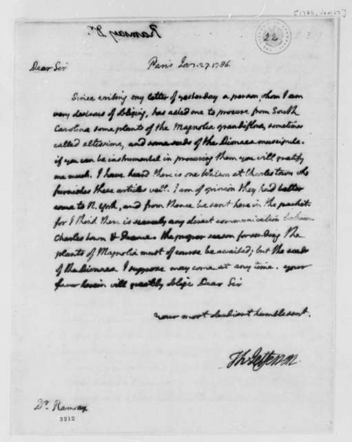 Thomas Jefferson to David Ramsay, January 27, 1786