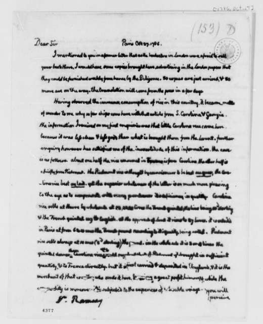 Thomas Jefferson to David Ramsay, October 27, 1786, with Copy