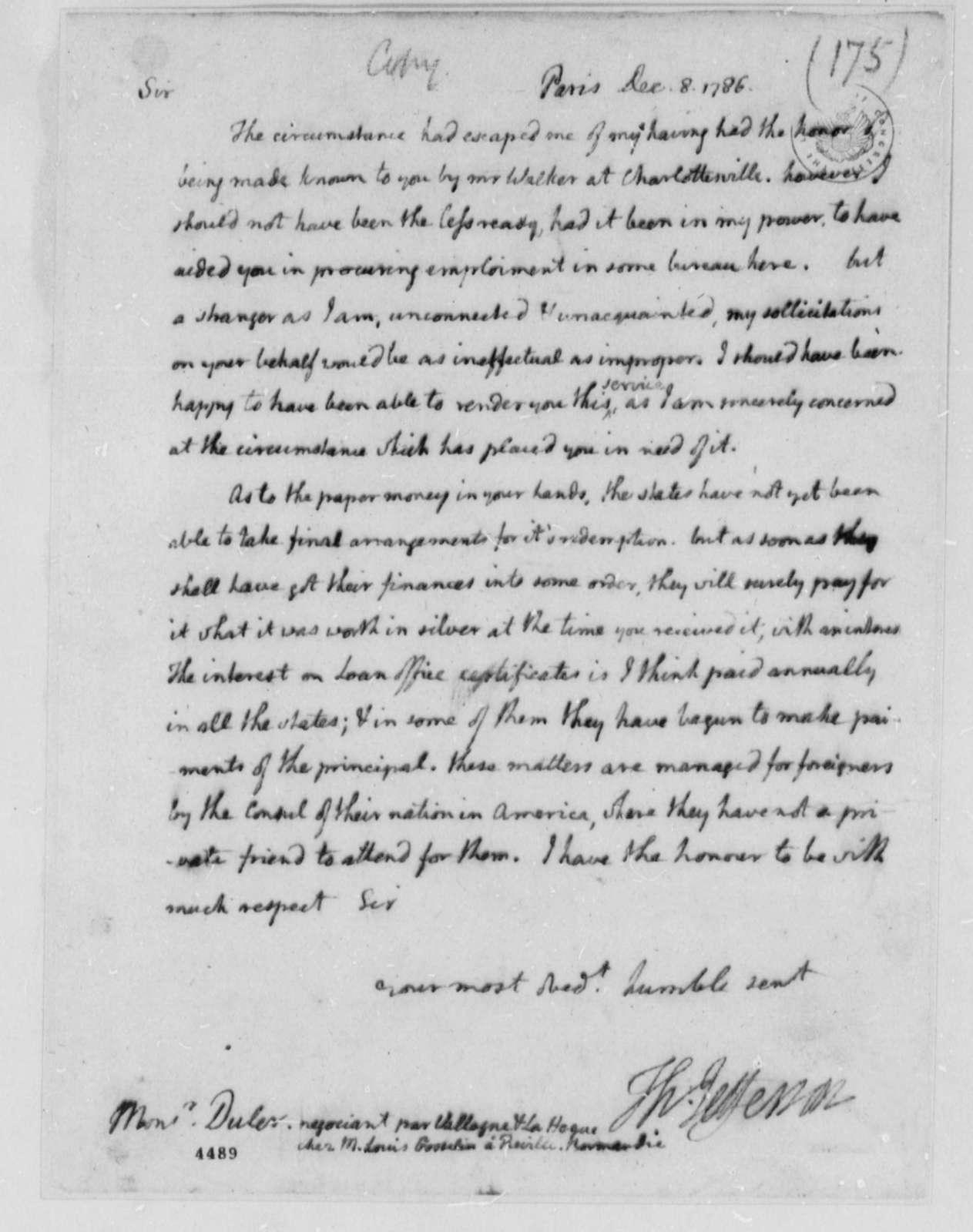 Thomas Jefferson to Duler, December 8, 1786