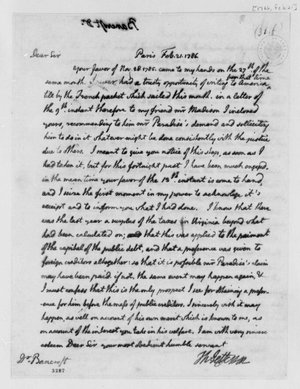 Thomas Jefferson to Edward Bancroft, February 21, 1786