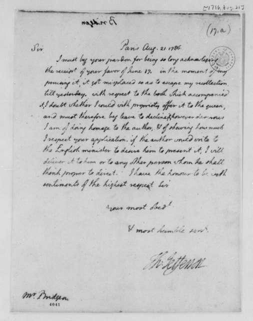 Thomas Jefferson to Edward Bridgen, August 21, 1786