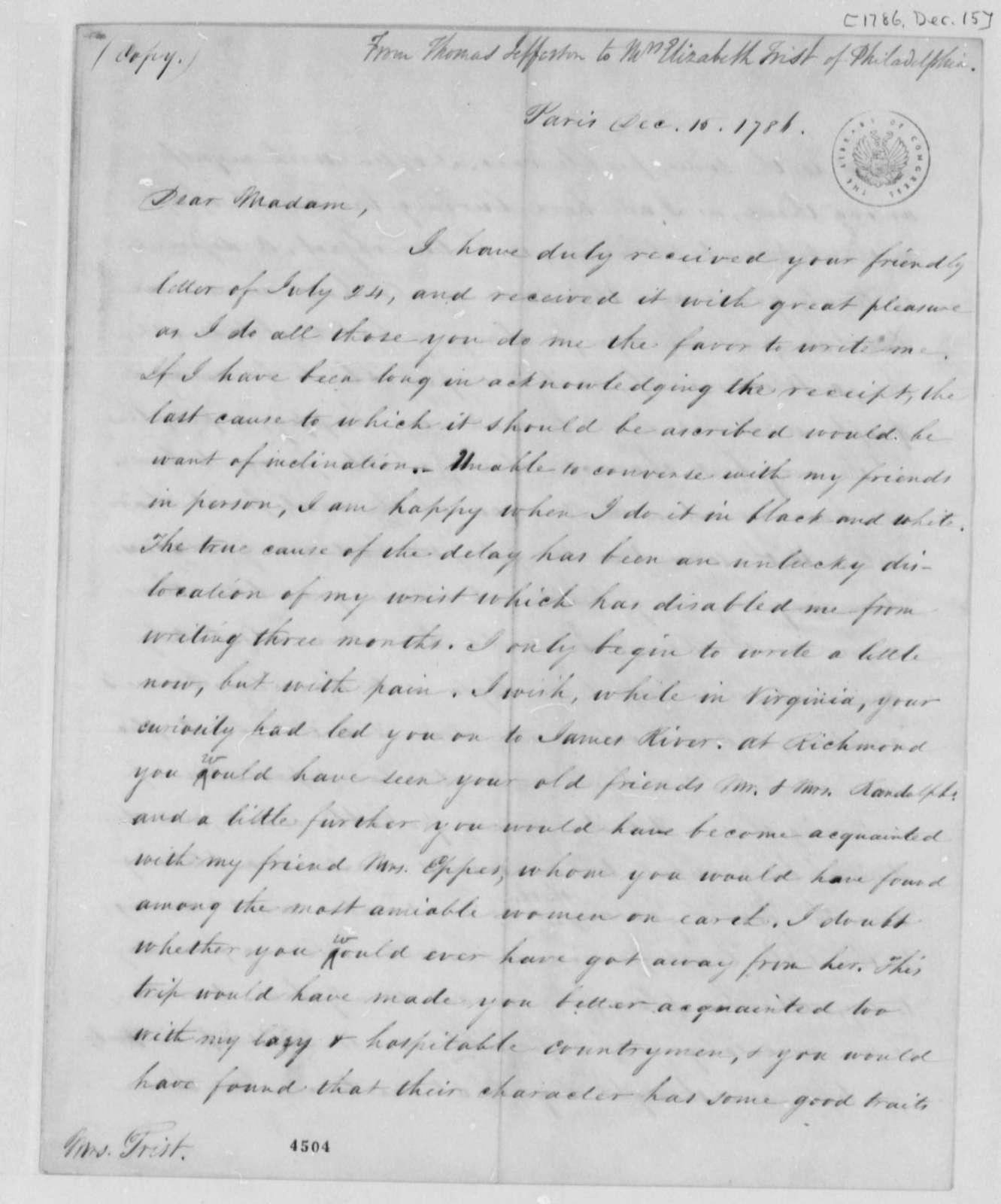 Thomas Jefferson to Eliza House Trist, December 15, 1786
