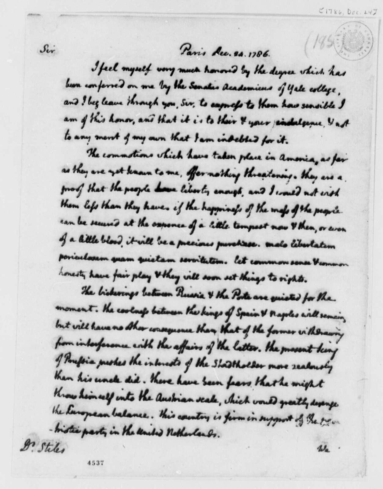 Thomas Jefferson to Ezra Stiles, December 24, 1786