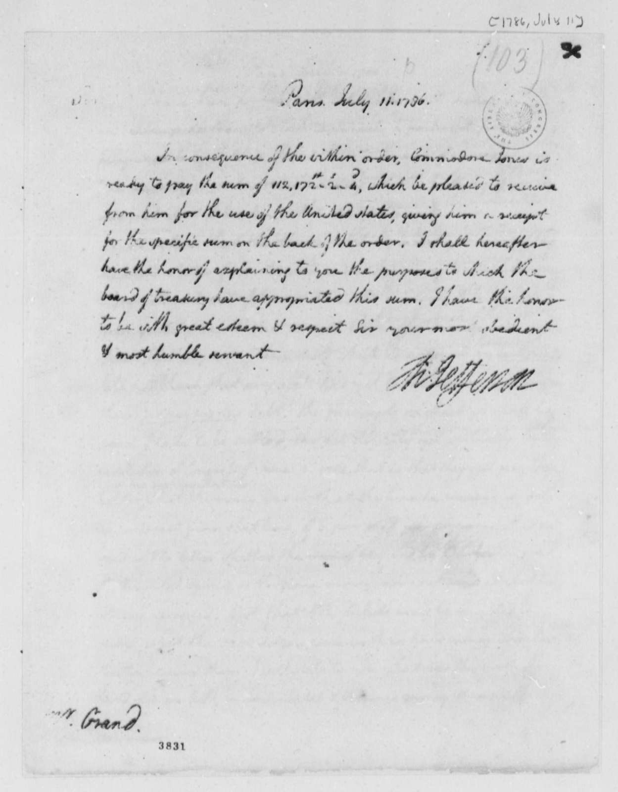 Thomas Jefferson to Ferdinand Grand, July 11, 1786