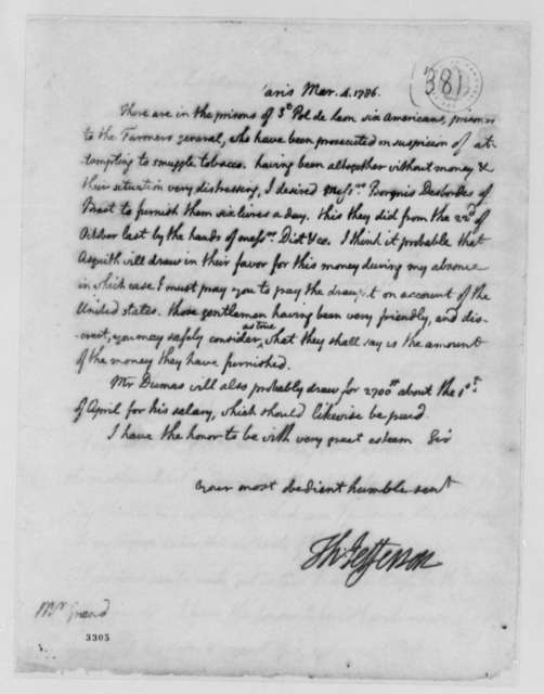 Thomas Jefferson to Ferdinand Grand, March 4, 1786, Lister Asquith's Maritime Law Case; William & Catherine (ship)