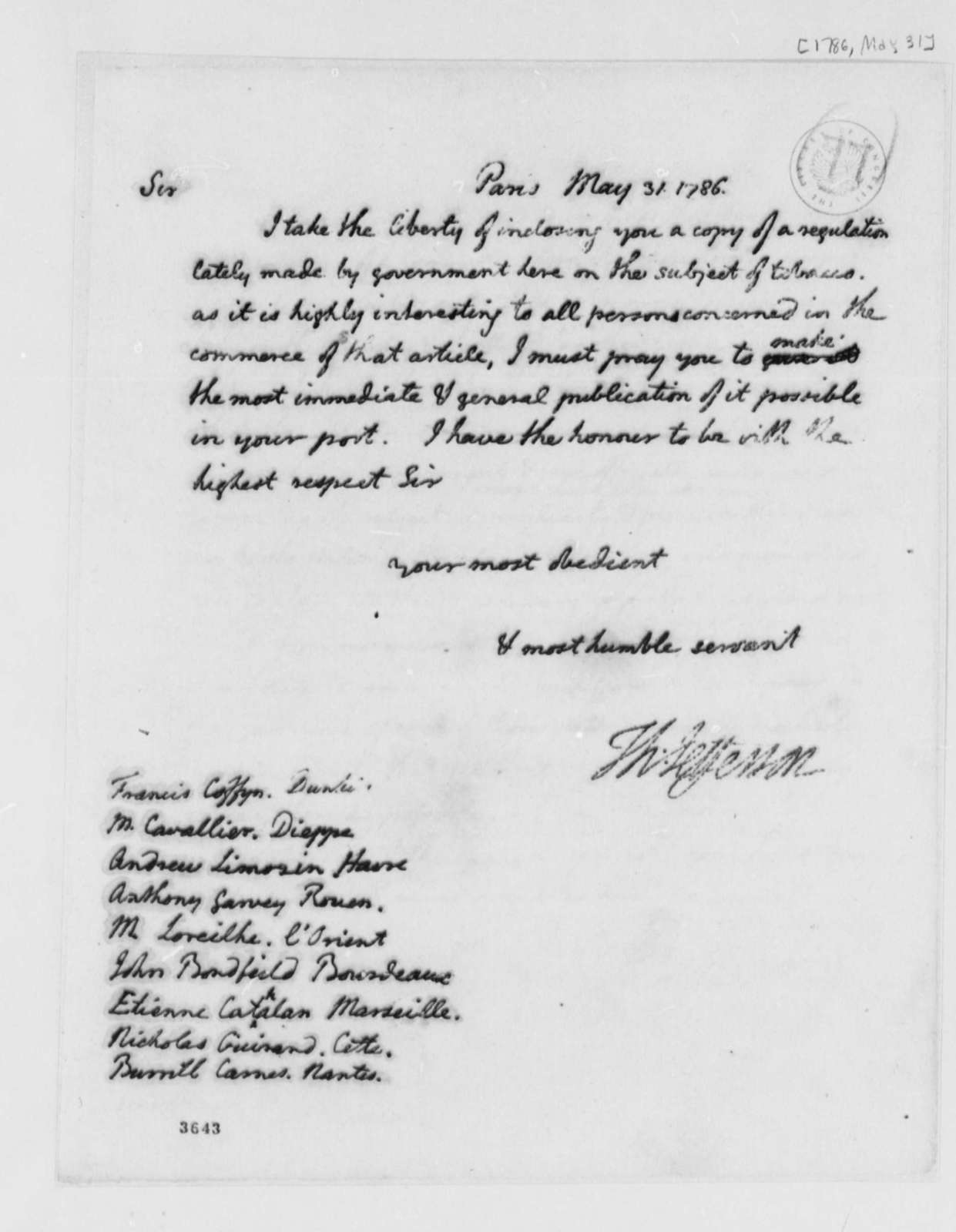 Thomas Jefferson to Francis Coffyn, et al, May 31, 1786, Tobacco Trade Regulations