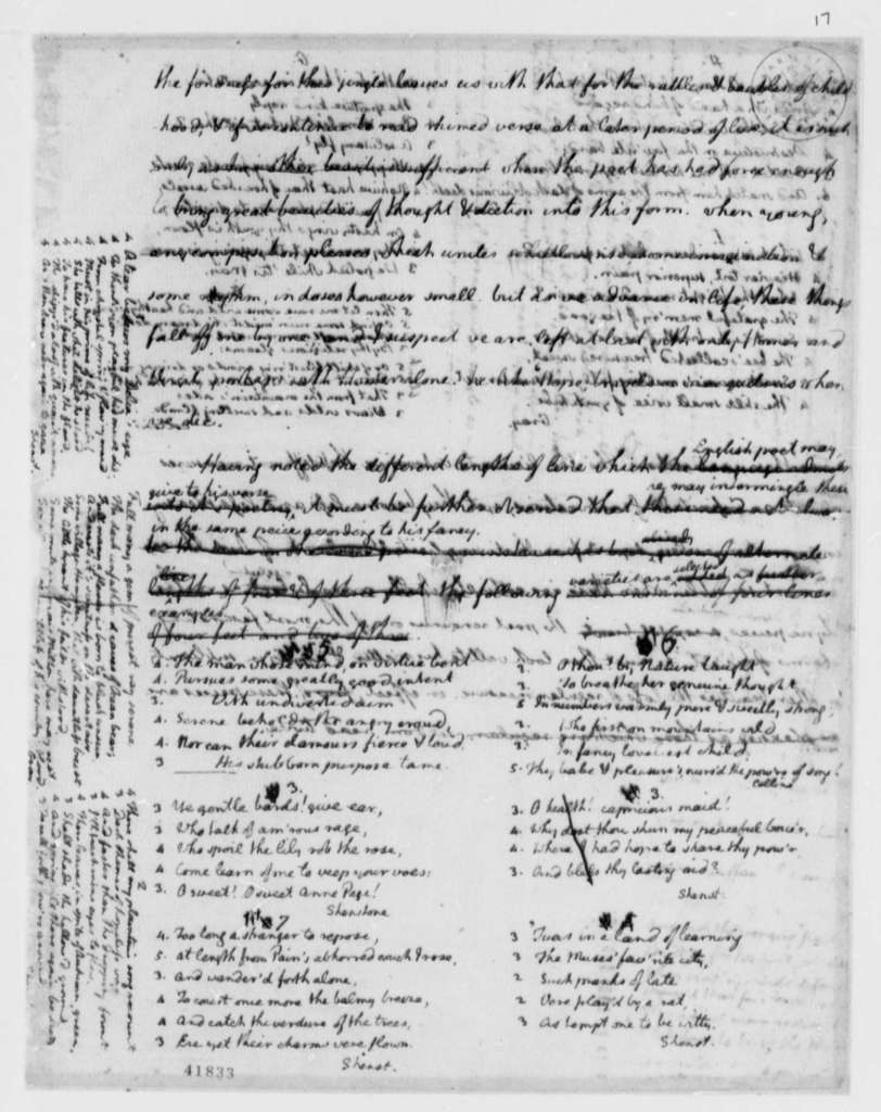 """Thomas Jefferson to Francois Jean, Chevalier de Chastellux, October 1786, with Essay """"Thoughts on English Prosody"""""""