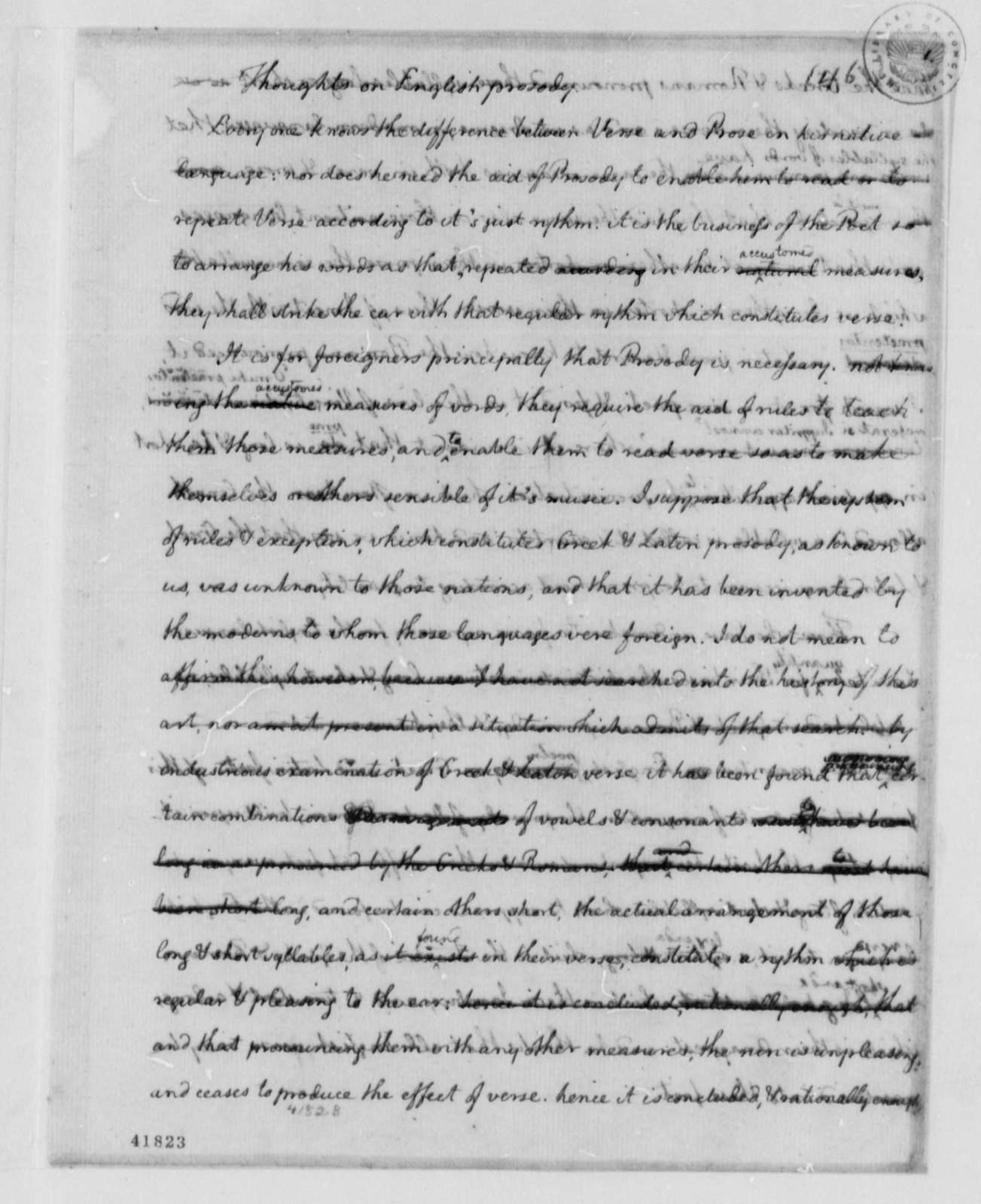 "Thomas Jefferson to Francois Jean, Chevalier de Chastellux, October 1786, with Essay ""Thoughts on English Prosody"""
