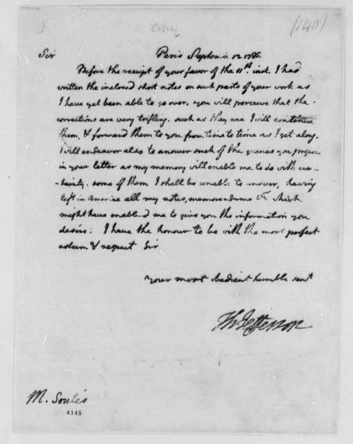 Thomas Jefferson to Francois Soules, September 13, 1786