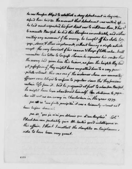 """Thomas Jefferson to Francois Soules, September 13, 1786, Answers to Queries on Francois Soules' """"Histoire des troubles de l'Amerique Anglaise""""; in English with French Extracts"""