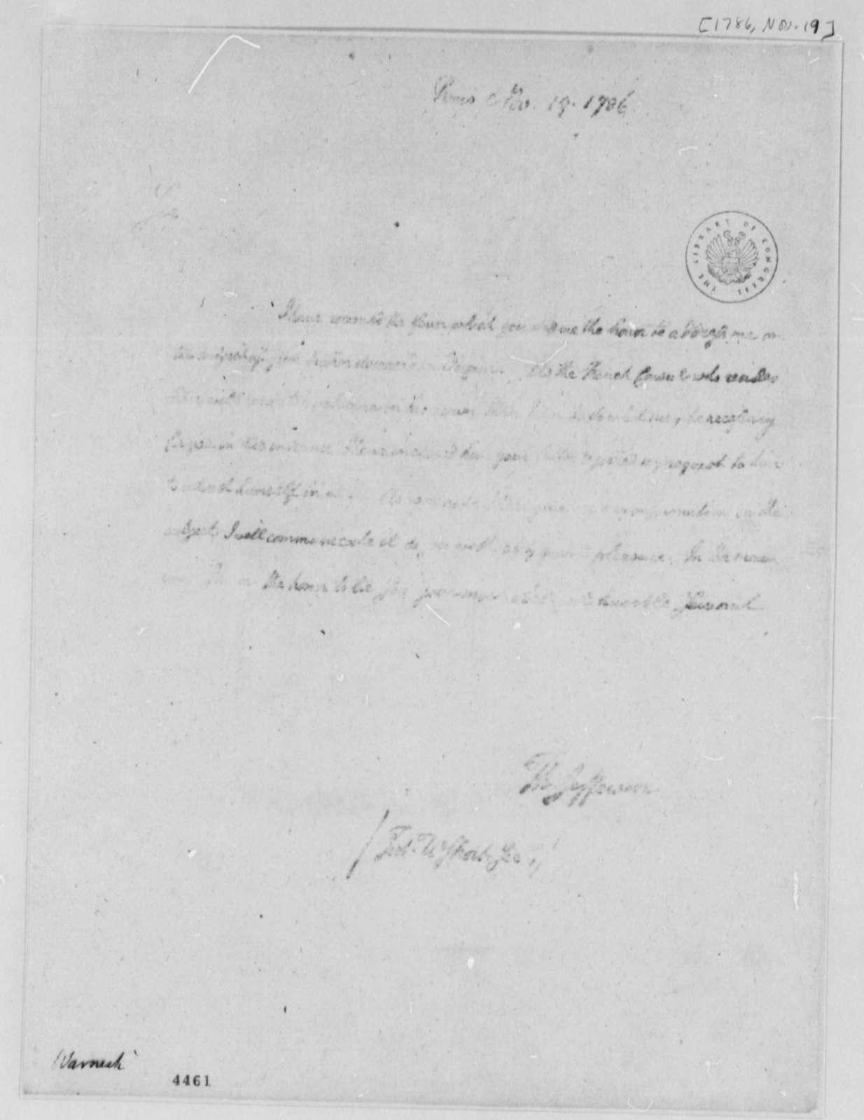 Thomas Jefferson to Frederick Wernecke, November 19, 1786