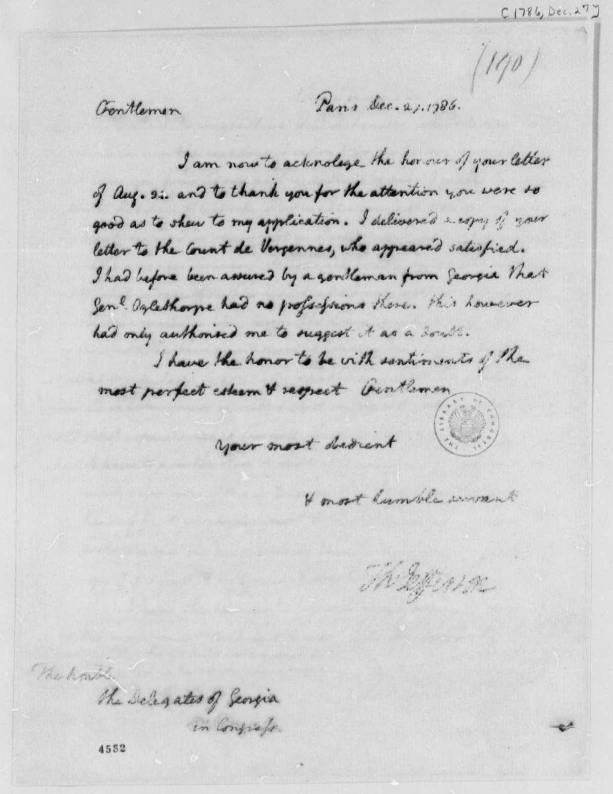 Thomas Jefferson to Georgia Delegates in Congress, December 27, 1786