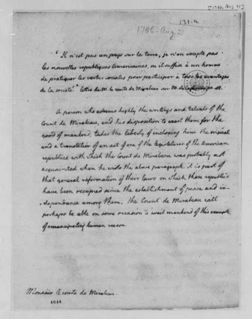Thomas Jefferson to Honore Gabriel Riqueti, Comte de Mirabeau, August 21, 1786, Act for Establishing Religious Freedom
