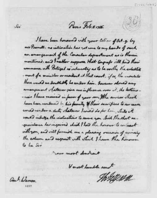 Thomas Jefferson to James Warren, February 8, 1786