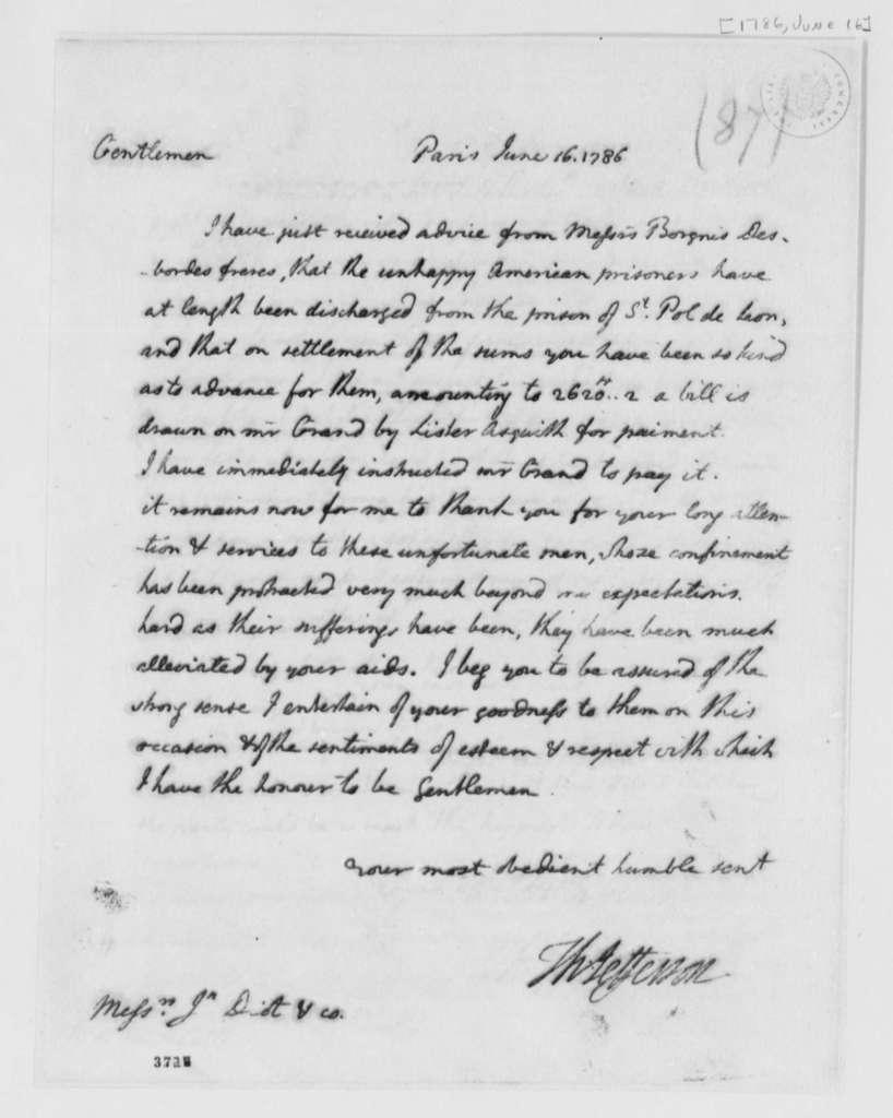 Thomas Jefferson to Jean Diot & Company, June 16, 1786