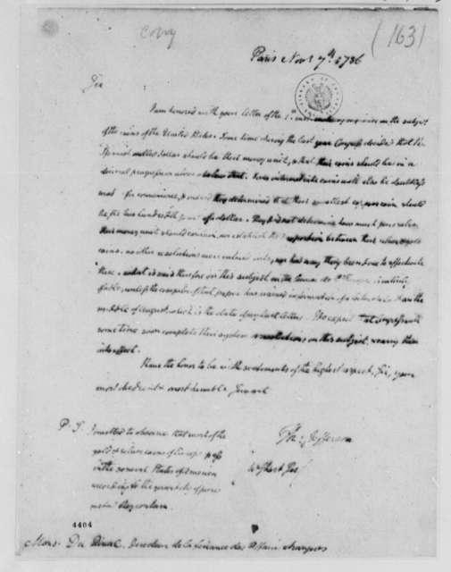 Thomas Jefferson to Jean Durival, November 7, 1786, United States Coins