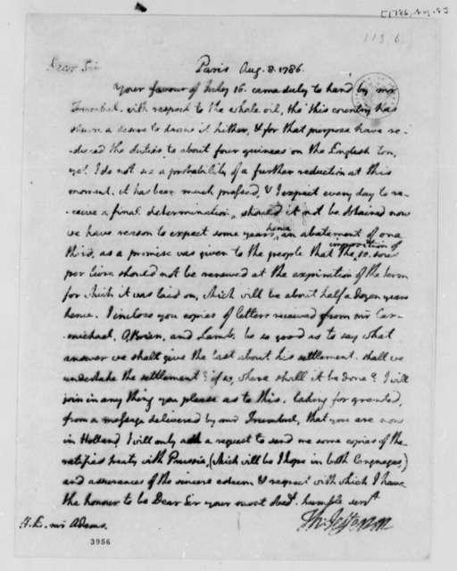Thomas Jefferson to John Adams, August 8, 1786