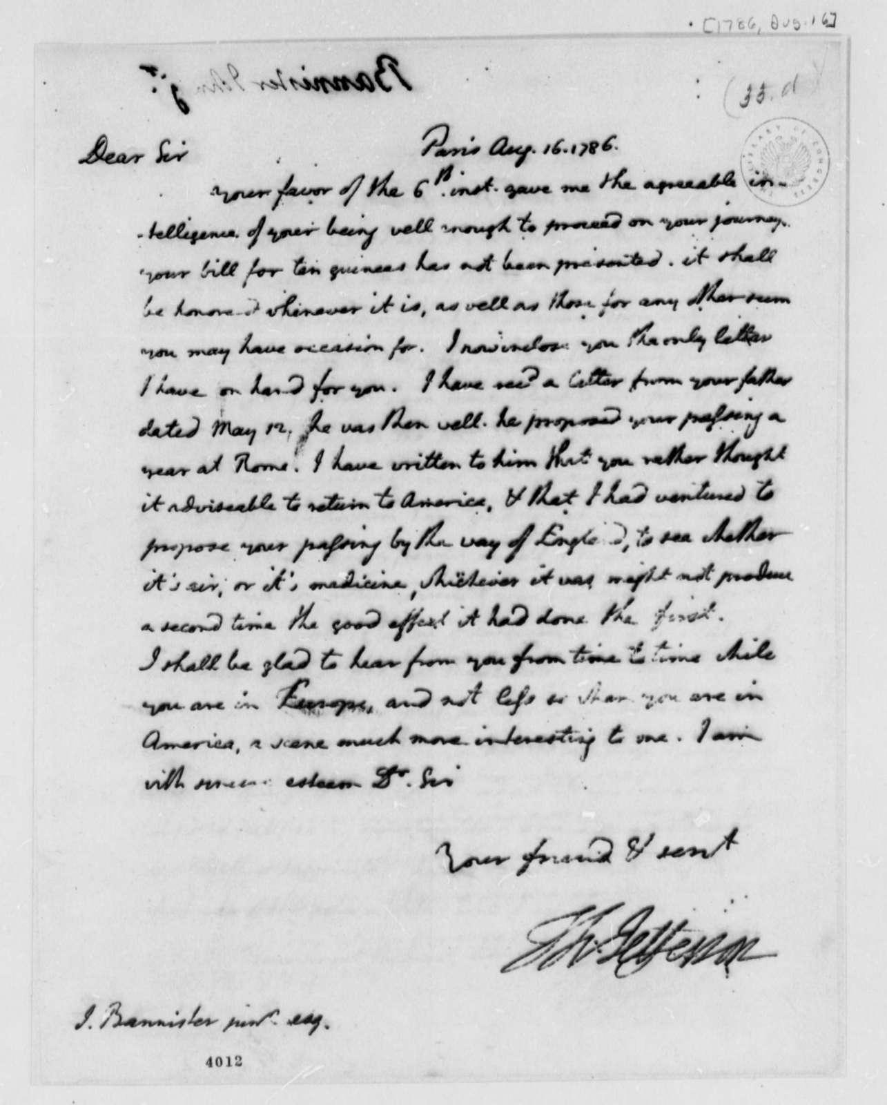 Thomas Jefferson to John Banister Jr., August 16, 1786