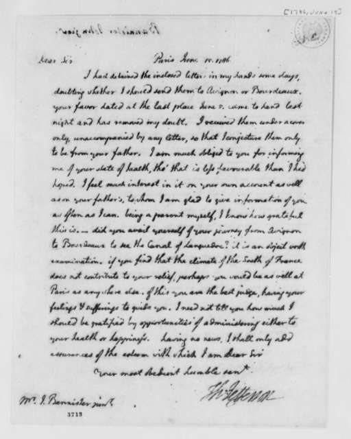 Thomas Jefferson to John Banister Jr., June 15, 1786