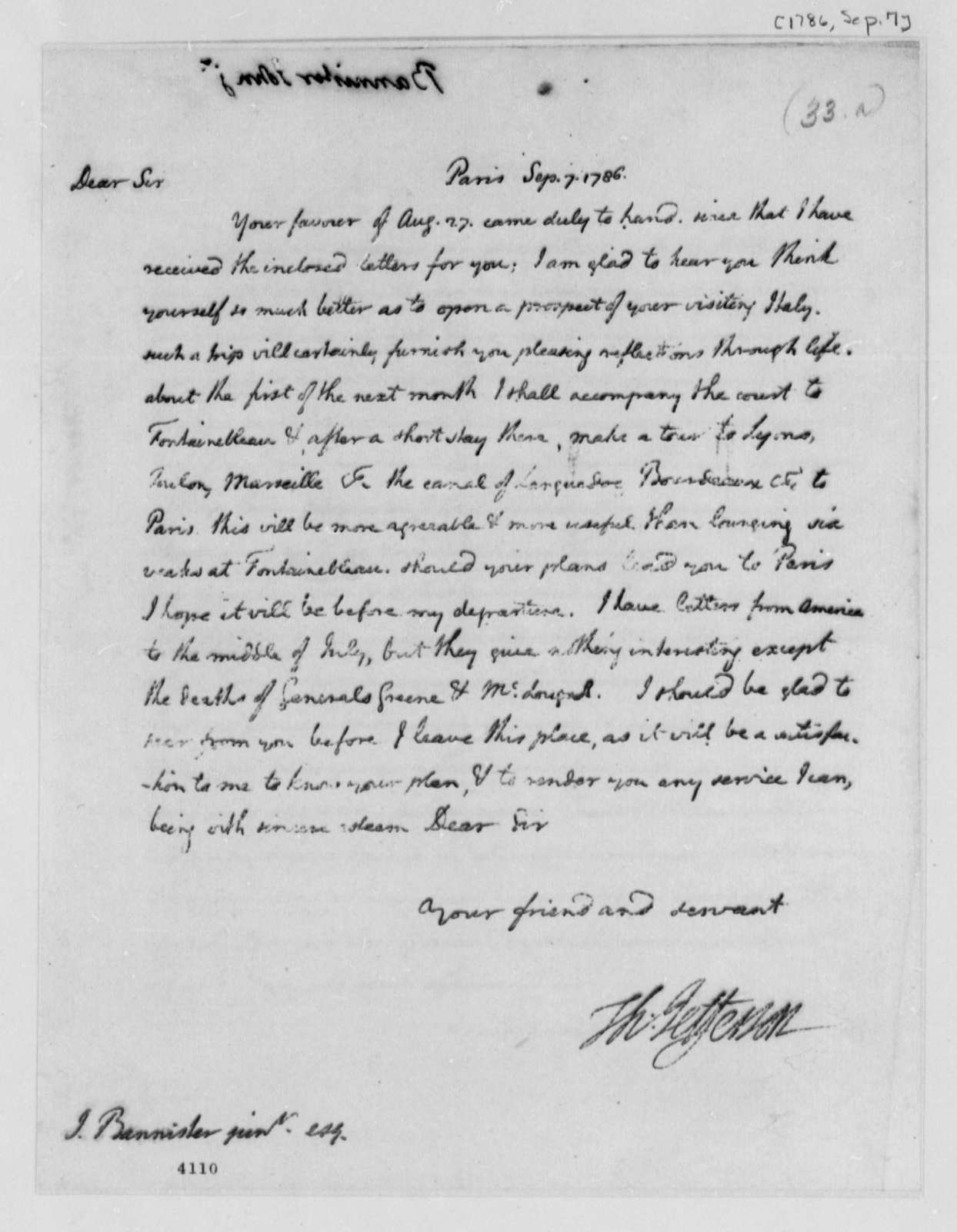 Thomas Jefferson to John Banister Jr., September 7, 1786