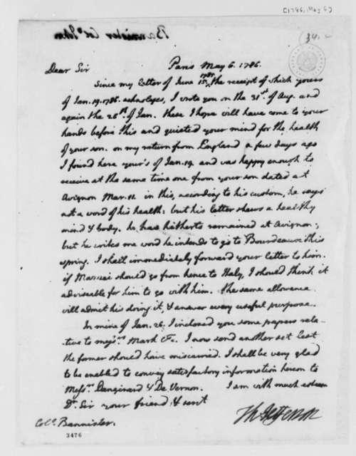 Thomas Jefferson to John Banister, May 6, 1786
