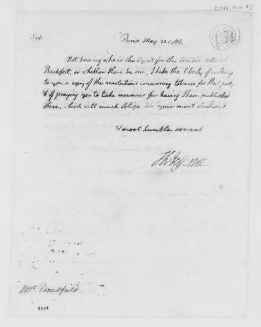 Thomas Jefferson to John Bondfield, May 31, 1786, Tobacco Trade Regulations
