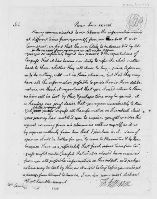 Thomas Jefferson to John Lamb, June 20, 1786