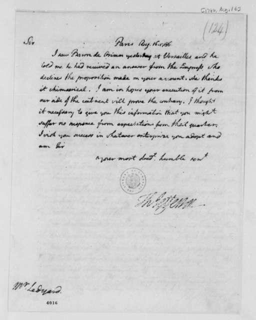 Thomas Jefferson to John Ledyard, August 16, 1786