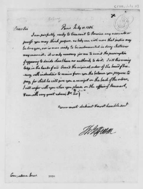Thomas Jefferson to John Paul Jones, July 11, 1786