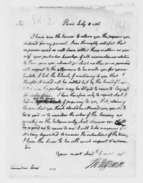 Thomas Jefferson to John Paul Jones, July 5, 1786