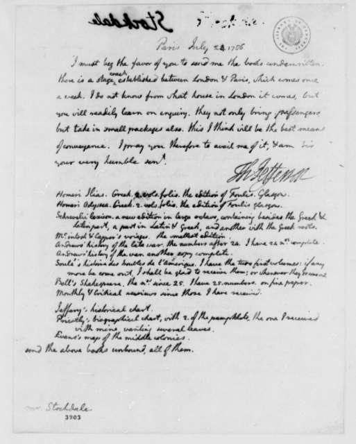 Thomas Jefferson to John Stockdale, July 24, 1786