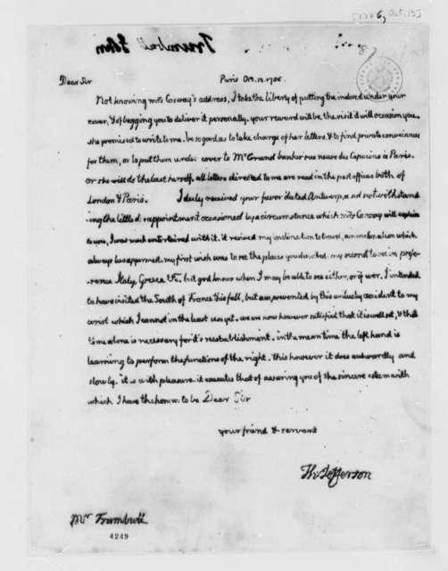 Thomas Jefferson to John Trumbull, October 13, 1786