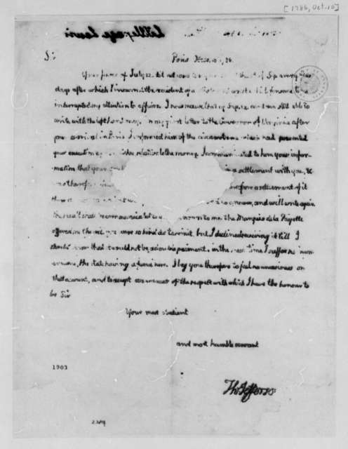 Thomas Jefferson to Lewis Littlepage, October 10, 1786