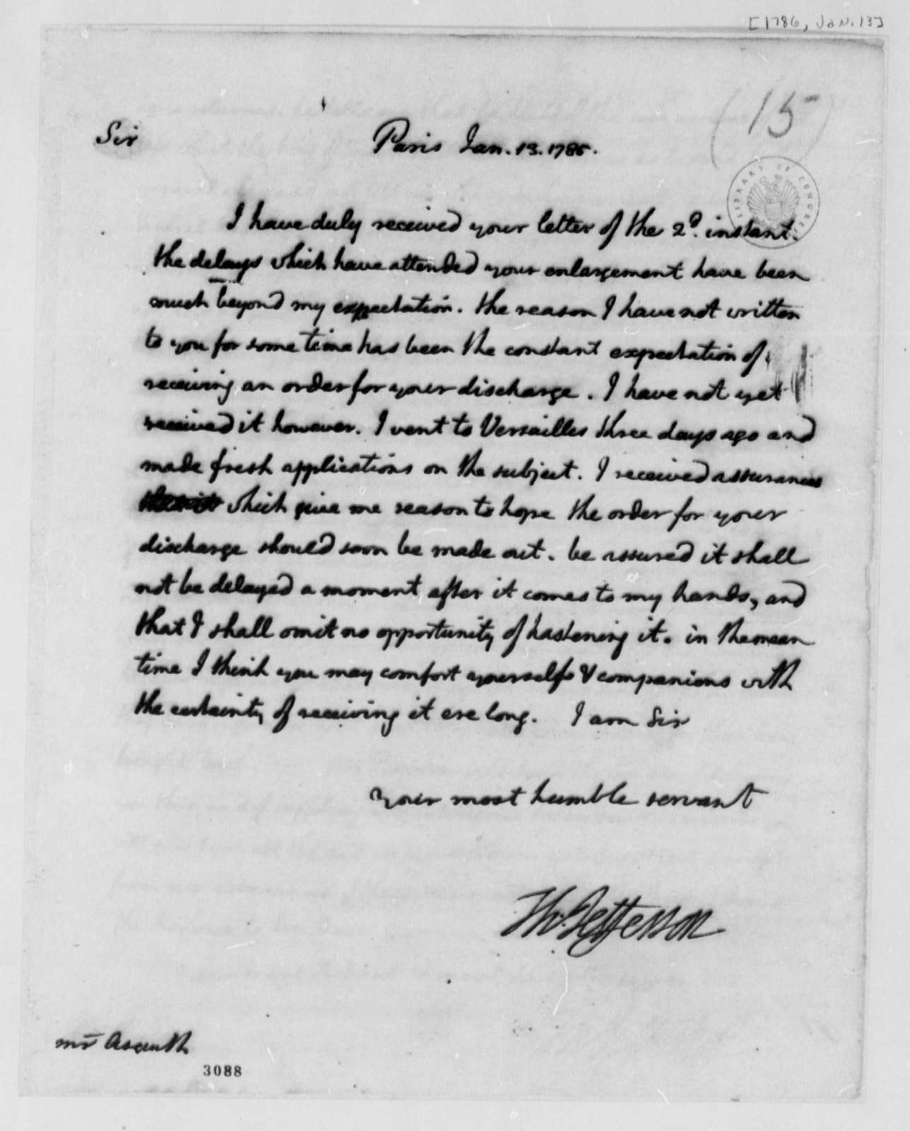 Thomas Jefferson to Lister Asquith, January 13, 1786, William & Catherine (ship)