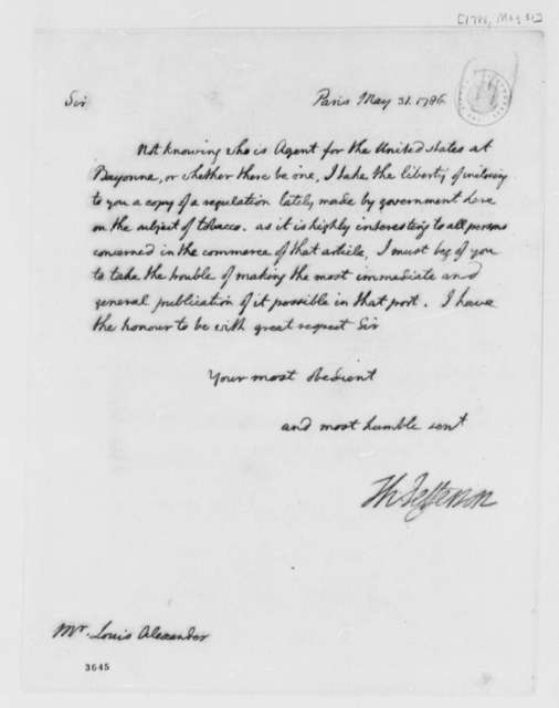 Thomas Jefferson to Louis Alexander, May 31, 1786