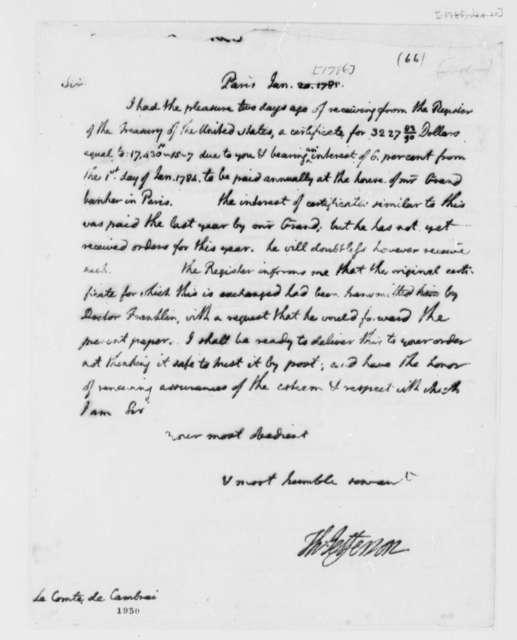 Thomas Jefferson to Louis Antoine Jean B., Chevalier de Cambray-Digby, January 20, 1786