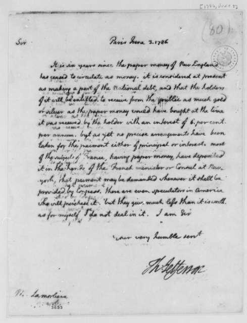 Thomas Jefferson to Louis Antoine M. La Morliere, June 3, 1786