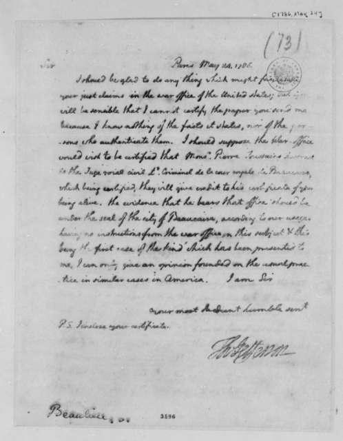 Thomas Jefferson to Louis Joseph de Beaulieu, May 24, 1786
