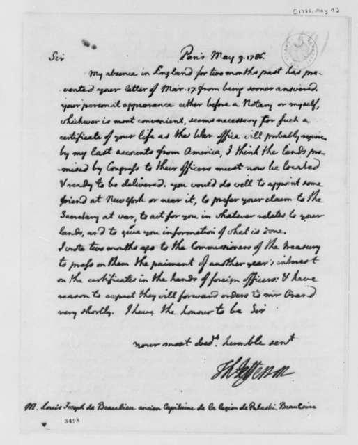 Thomas Jefferson to Louis Joseph de Beaulieu, May 9, 1786