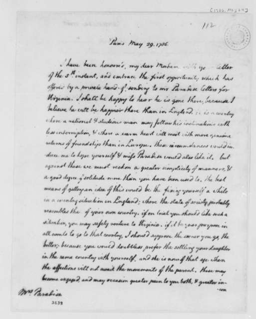 Thomas Jefferson to Lucy Ludwell Paradise, May 29, 1786