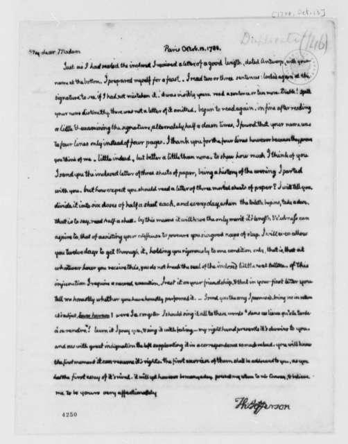 Thomas Jefferson to Maria Hadfield Cosway, October 13, 1786