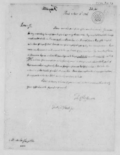 Thomas Jefferson to Marie Joseph Paul Yves Roch Gilbert du Motier, Marquis de Lafayette, November 3, 1786