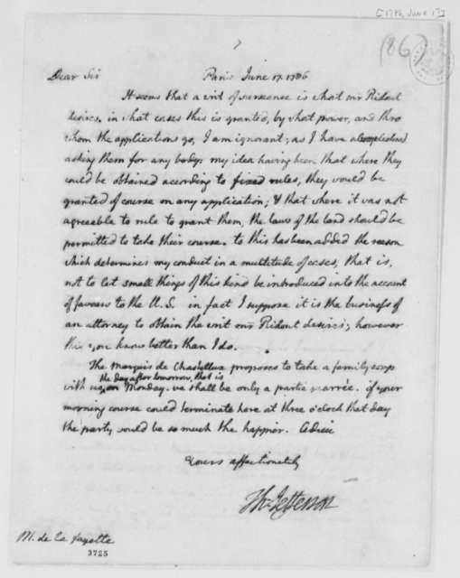 Thomas Jefferson to Marie Joseph Paul Yves Roch Gilbert du Motier, Marquis de Lafayette, June 17, 1786